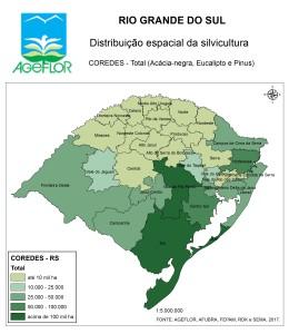Distribuição Espacial da Silvicultura RS_A_COREDES - total