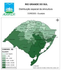 Distribuição Espacial da Silvicultura RS_COREDES - eucalipto