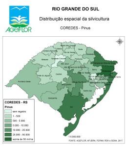 Distribuição Espacial da Silvicultura RS_COREDES - pinus