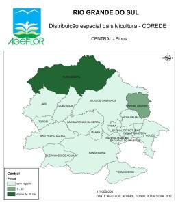 Distribuição Espacial da Silvicultura RS_C_Central - pinus