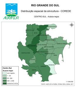 Distribuição Espacial da Silvicultura RS_C_Centro-Sul - acacia