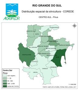 Distribuição Espacial da Silvicultura RS_C_Centro-Sul - pinus