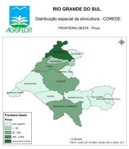 Distribuição Espacial da Silvicultura RS_C_Fronteira-Oeste - pinus