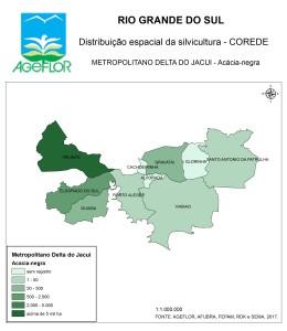 Distribuição Espacial da Silvicultura RS_C_Metropolitano Delta do Jacui - acacia