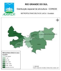 Distribuição Espacial da Silvicultura RS_C_Metropolitano Delta do Jacui - eucalipto