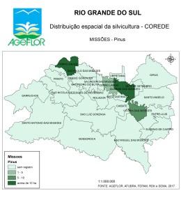 Distribuição Espacial da Silvicultura RS_C_Missoes - pinus