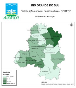 Distribuição Espacial da Silvicultura RS_C_Nordeste - eucalipto