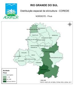 Distribuição Espacial da Silvicultura RS_C_Nordeste - pinus