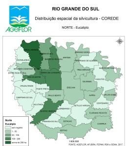 Distribuição Espacial da Silvicultura RS_C_Norte - eucalipto