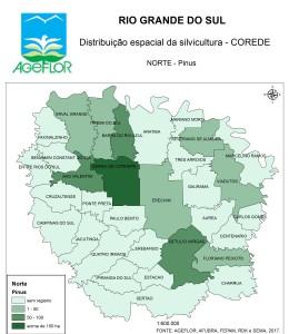 Distribuição Espacial da Silvicultura RS_C_Norte - pinus