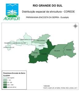 Distribuição Espacial da Silvicultura RS_C_Paranhana Encosta da Serra - eucalipto