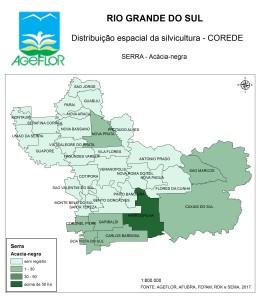 Distribuição Espacial da Silvicultura RS_C_Serra - acacia