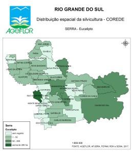 Distribuição Espacial da Silvicultura RS_C_Serra - eucalipto