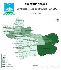 Distribuição Espacial da Silvicultura RS_C_Serra - pinus