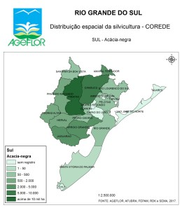 Distribuição Espacial da Silvicultura RS_C_Sul - acacia