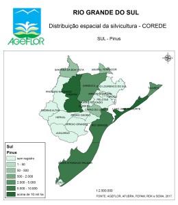 Distribuição Espacial da Silvicultura RS_C_Sul - pinus