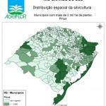 Distribuição Espacial da Silvicultura RS_municipios - acima de 2 mil ha Pinus
