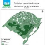 Distribuição Espacial da Silvicultura RS_municipios - acima de 6 mil ha Eucalipto