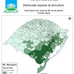Distribuição Espacial da Silvicultura RS_municipios - acima de Mil ha Acacia