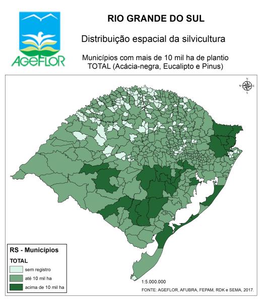 Distribuição Espacial da Silvicultura RS_municipios - com mais plantios - Total